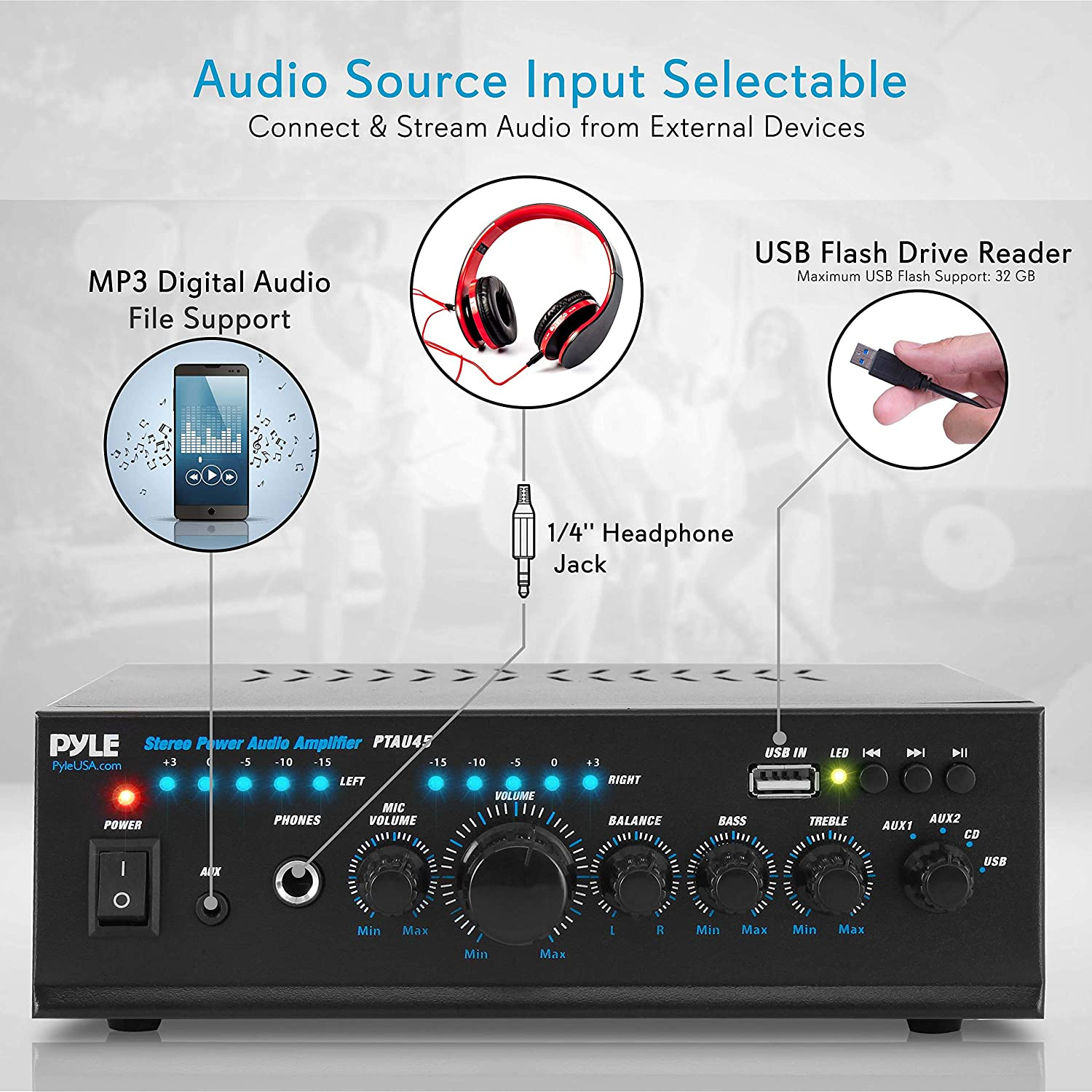PyleHome PTAU45 2x 120W Stereo Power Amplifier with USB CD and Mic Input AUX