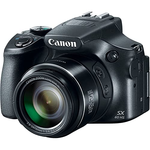 Canon Powershot SX60 16.1MP Digital Camera 65x Optical Zoom Lens 3-inch LCD Tilt Screen (Black)