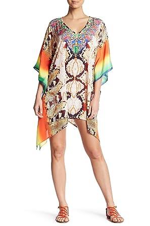 9e7faf3977 La Moda Clothing Multi Colored Sheer V-Neck Kaftan Cover Up | Kimono Sleeve  Designer