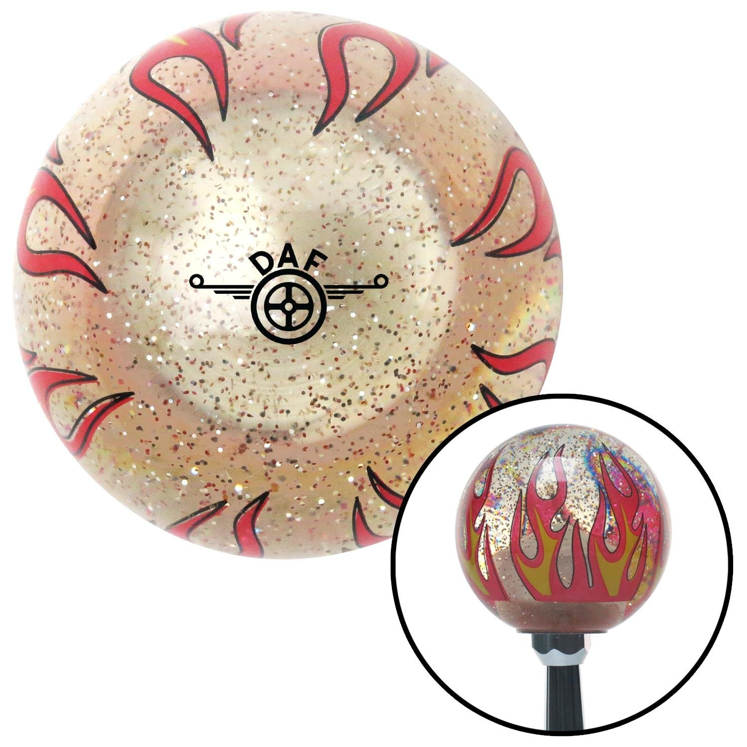 American Shifter 295885 Shift Knob Black DAF Logo Clear Flame Metal Flake with M16 x 1.5 Insert
