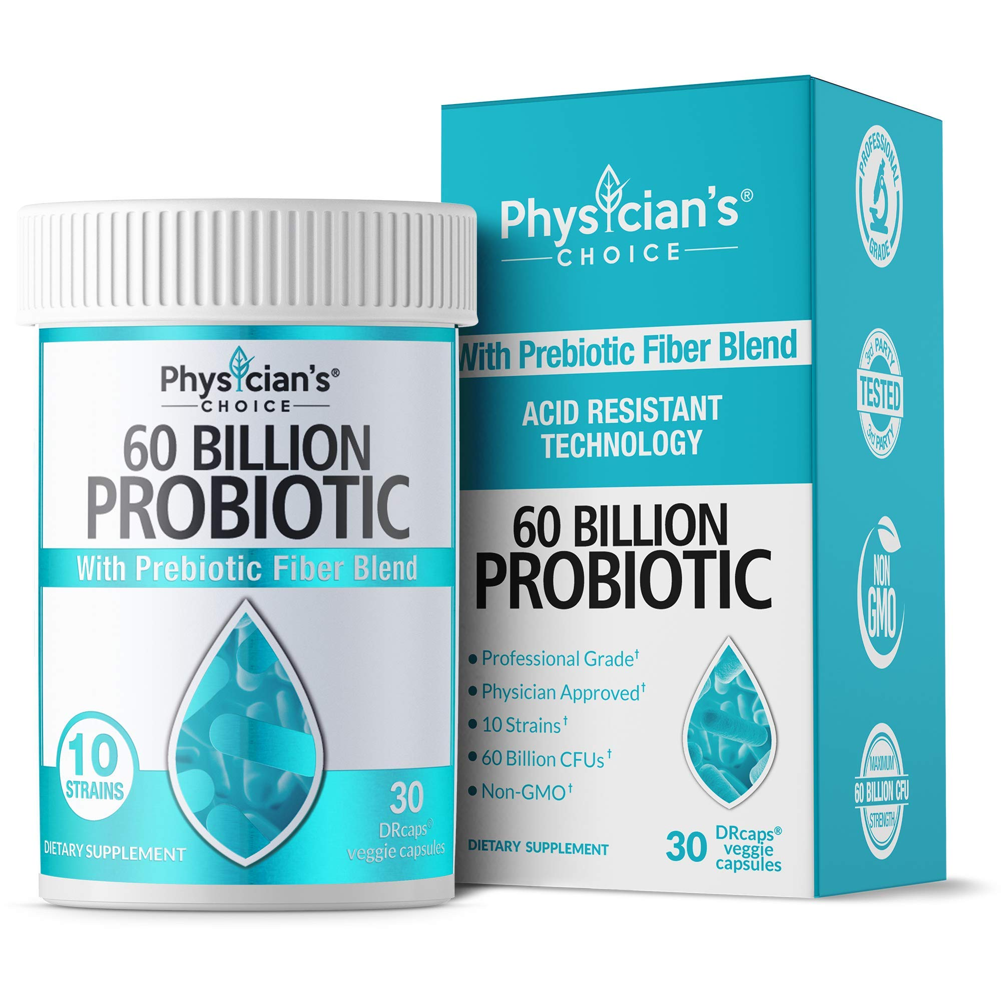 Probiotics 60 Billion CFU - Dr. Approved Probiotics for Women, Probiotics for Men and Adults, Natural; Shelf Stable Probiotic Supplement with Organic Prebiotic, Acidophilus Probiotic; 30 Capsules by Physician's Choice