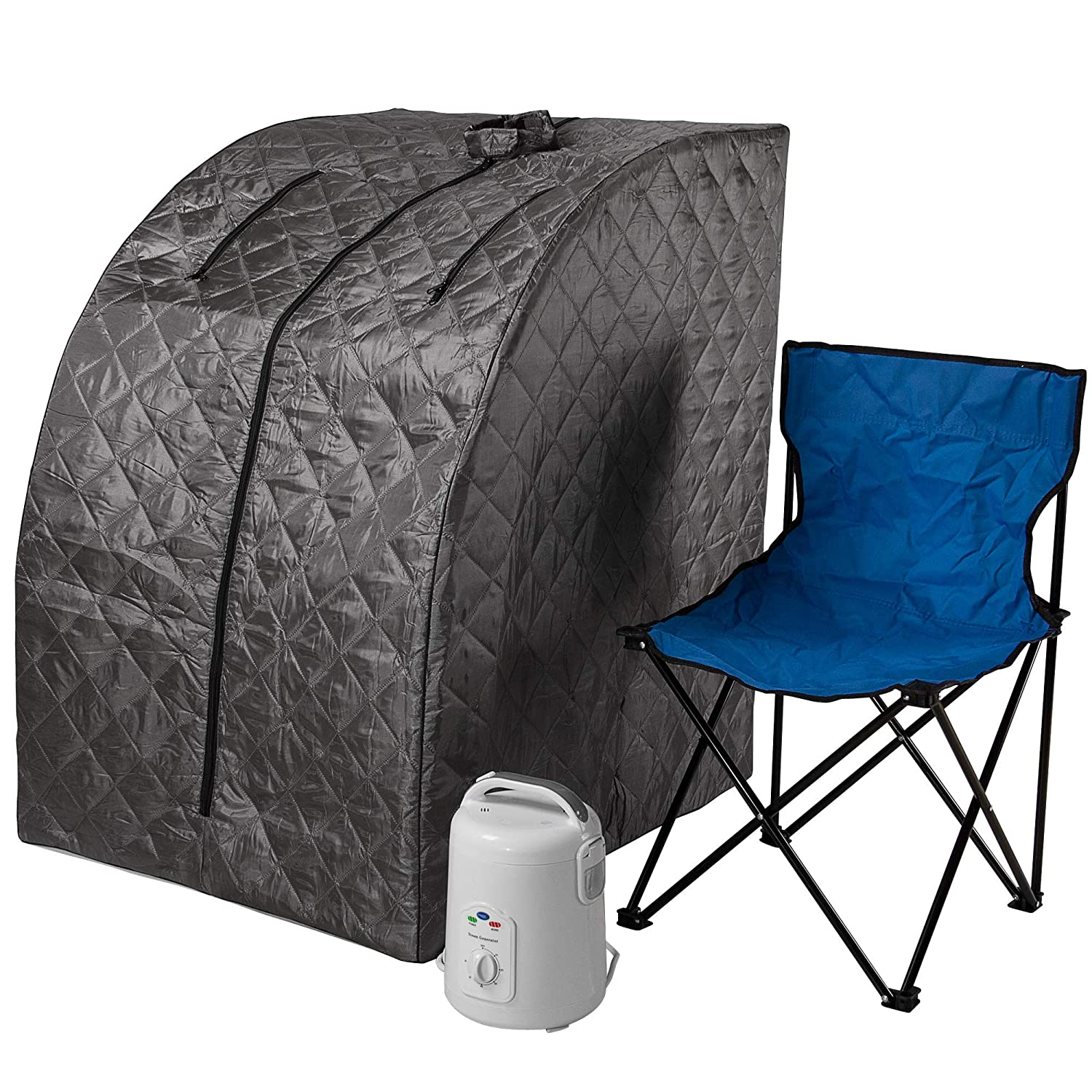 Durasage Lightweight Portable Personal Steam Sauna Spa for Weight Loss, Detox, Relaxation at Home, 60 Minute Timer, 800 Watt Steam Generator, Chair Inlcuded - Gray SS03-GRAY