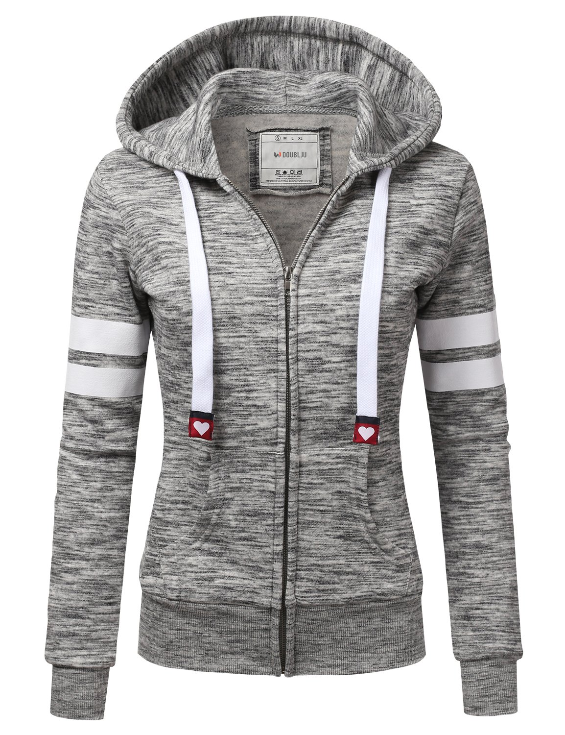 Doublju Lightweight Thin Zip-Up Hoodie Jacket for Women with Plus Size MARLEDCHARCOAL Large