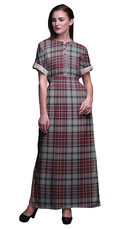 Vintage Tea Dresses, Floral Tea Dresses, Tea Length Dresses Bimba Rayon Printed Women's Long MaxiSummer Wear DressGown with Side Slit $29.50 AT vintagedancer.com