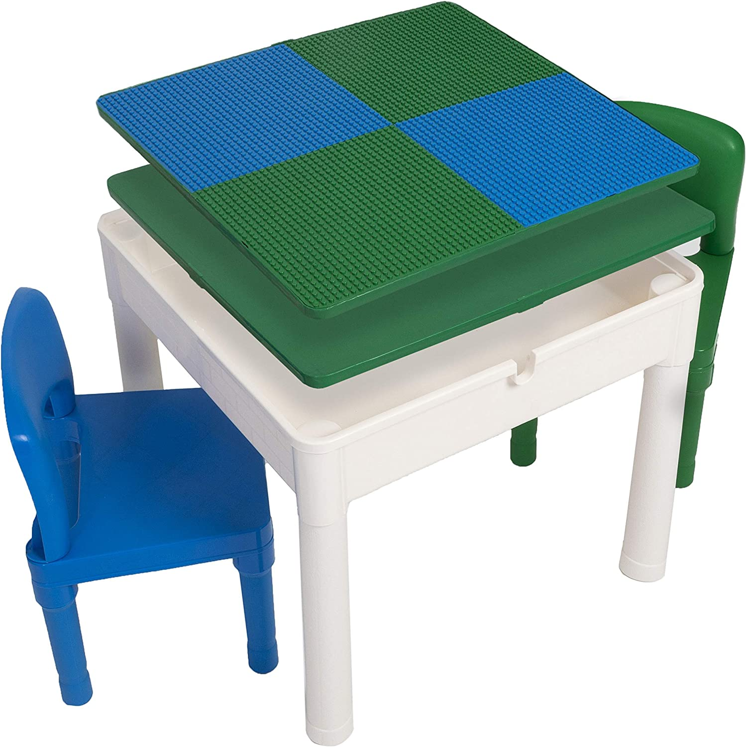 3 in 1 Water Table Blue and Green Play Platoon Kids Activity Table Set Includes 2 Chairs and 25 Jumbo Bricks Craft Table and Building Brick Table with Storage