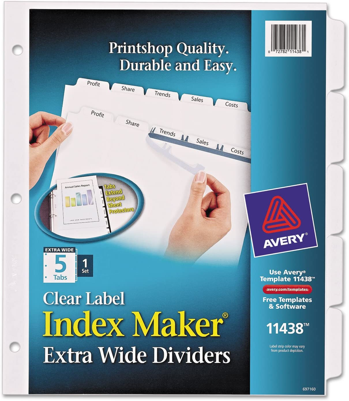 "Index Divider, 5-Tabs, 9""x11"", Laser and Inkjet Printable, Clear, Single Set AVE11438"