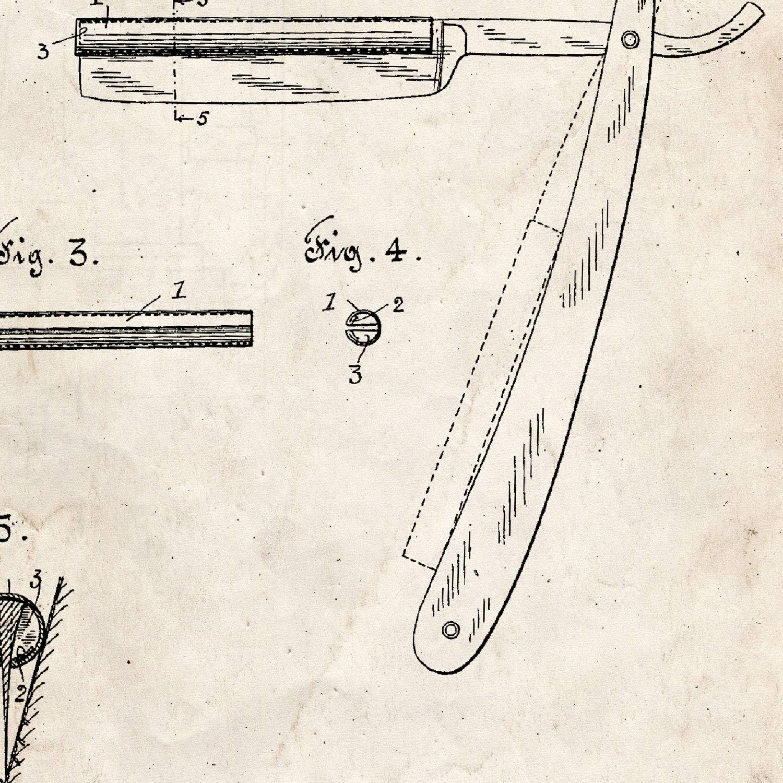 Foglio con Il Vecchio Brevetto di Disegno in Formato A3 e Vintage Sfondo Nacnic Poster Pennello da Barba di Brevetto