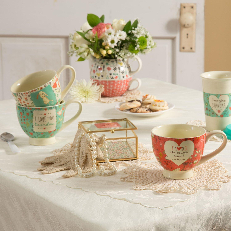 I Love You Grandma Teal Floral Soup Bowl Mug 17 oz Pavilion Gift Company 54001 Pavilion