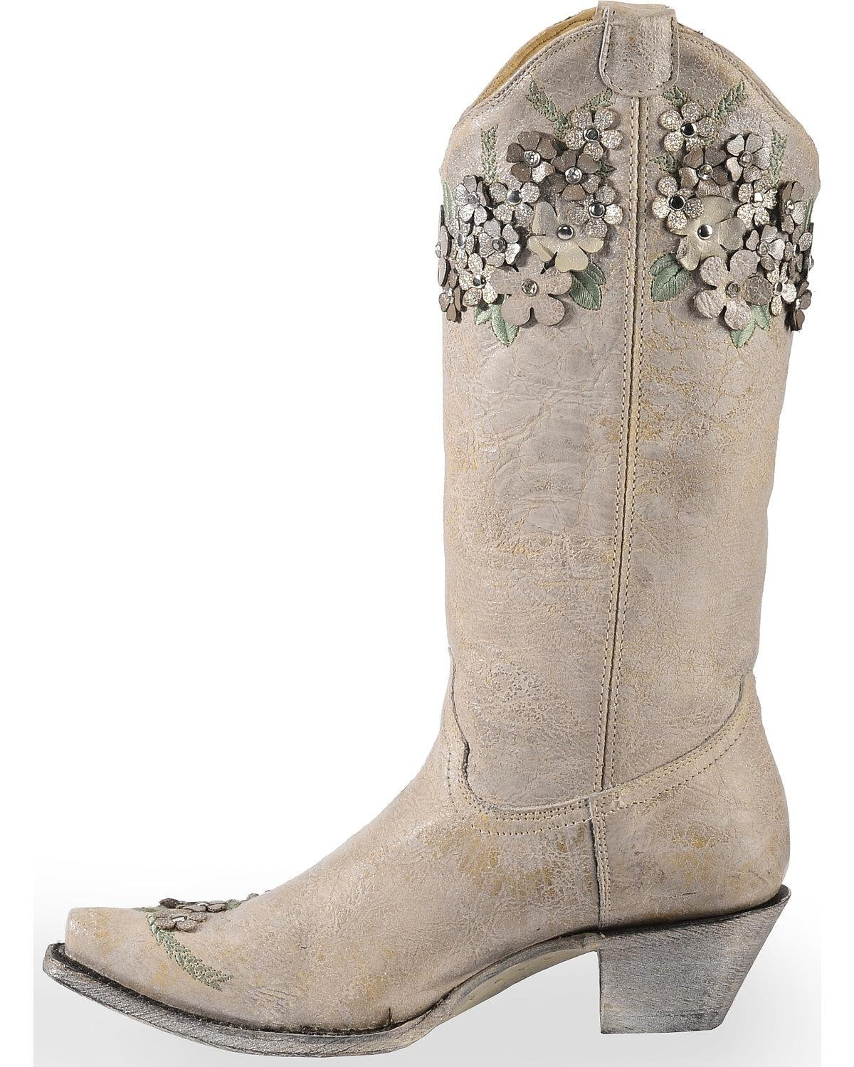 CORRAL Women's White Floral Overlay Embroidered Stud and Crystals Cowgirl Boot - A3600 B07B4DWCHR 7.5 B(M) US|White