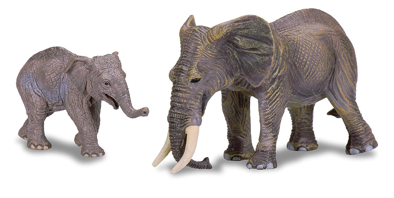 small elephant figurine zoo wild animals mother baby help up figurines