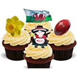 Wales Fun Pack, Edible Cupcake Toppers - Stand-up Wafer Cake Decorations (Pack of 12)
