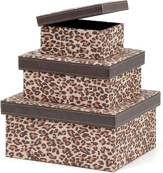 Ranslen - Cajas de almacenamiento decorativas de cartón con tapas (juego de 3), caja de almacenamiento para guardar recuerdos de juguetes, fotos, recuerdos, armario, guardería, oficina, dormitorio, decoración, estampado de leopardo: Amazon.es: