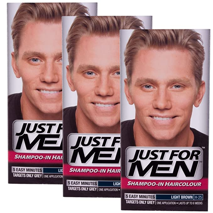 3 x Just For Men Shampoo In Hair Colour - Choose Your Colour-Light Brown H25