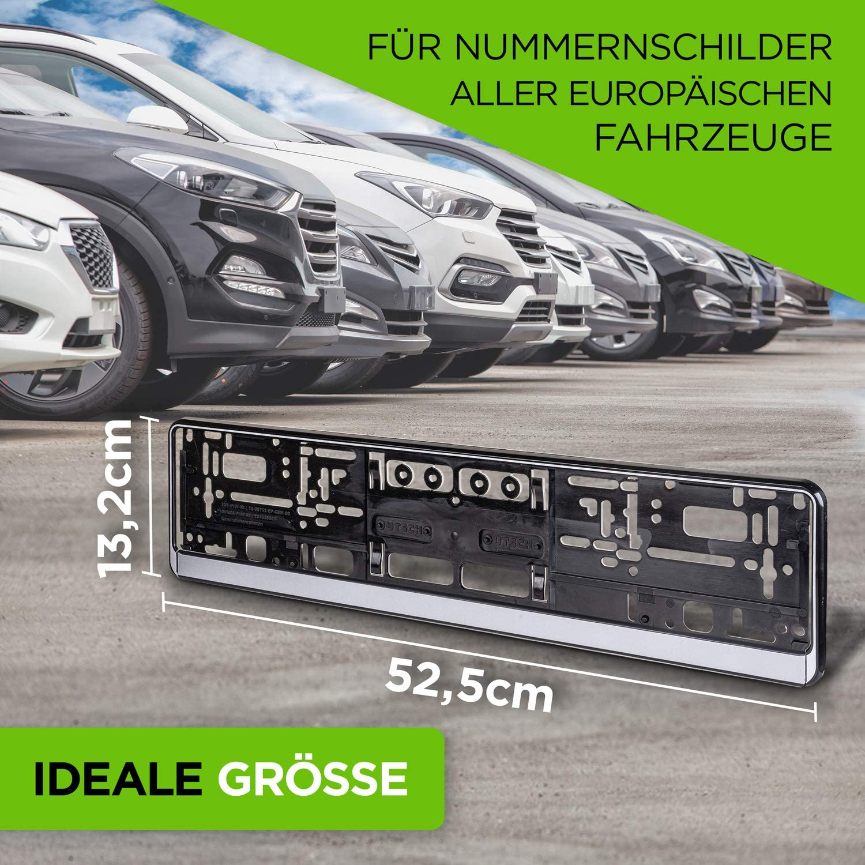 Schwarz /& Silber Set Auto Nerds /® Kennzeichenhalter Auto Nummernschildverst/ärker Kennzeichenrahmen Made in Germany 2er Schwarz