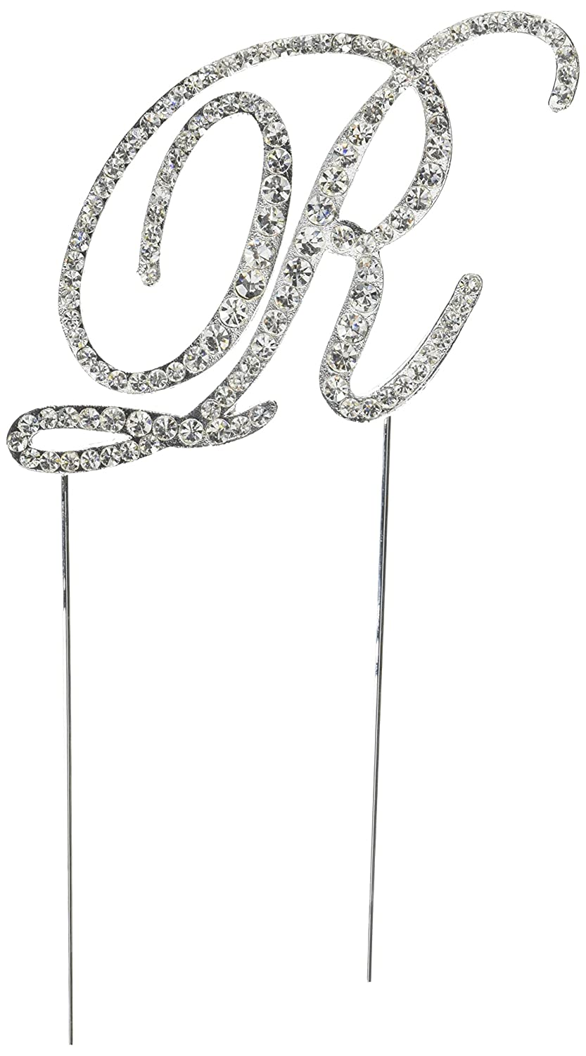 Silver UO-CT-VIC-0038-R Unik Occasions Victorian Crystal Rhinestone Wedding Cake Topper Large Letter R