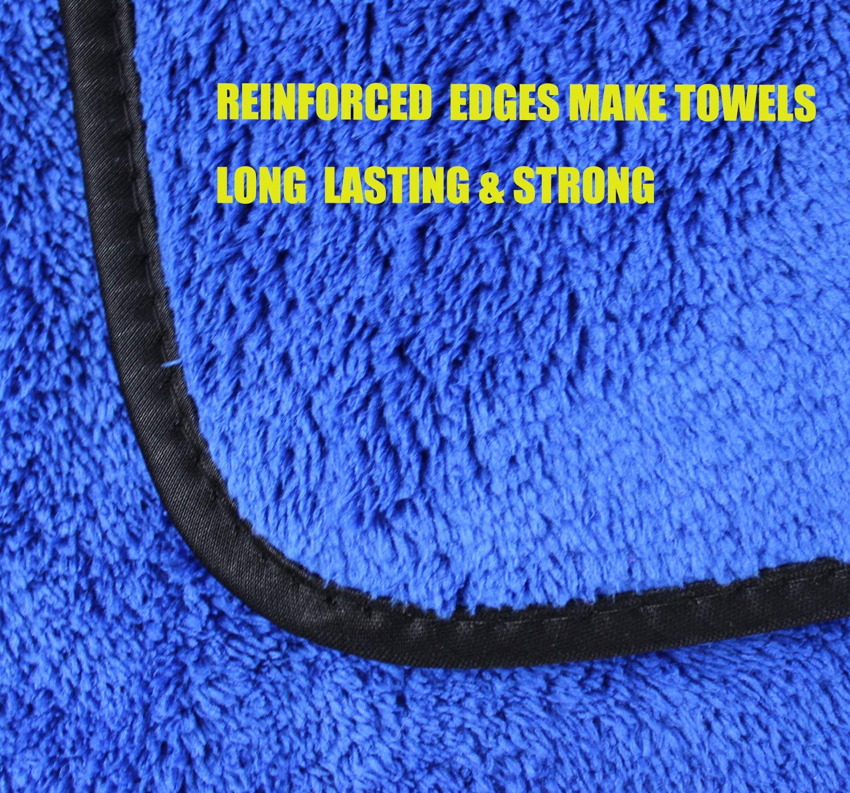 HIDMD Tissus en Microfibre Voiture Chiffons de Nettoyage Peluche /Épaisse Voiture Cirage Polissage Serviettes Nettoyer Les Voitures Les Motos Faire du m/énage 40 cm x 60 cm 3 pi/èce Gris