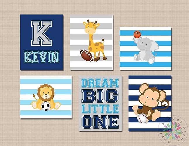 Amazon.com: Animals Sports Nursery Wall Art Future All Star Blue ...