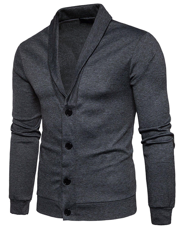 Trensom Men's Casual Slim Fit Lightweight Long Sleeve V Neck Front Button Solid Cardigan Dark Grey X-Large