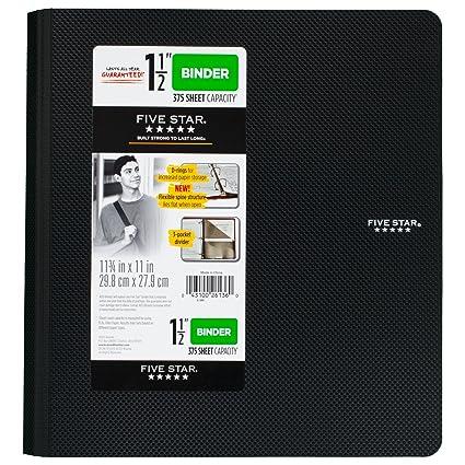 amazon com five star 1 1 2 inch 3 ring binder plastic black
