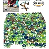 "270 Count of Cats Eyes Glass Marble , Cat's Eyes Marbles 5/8"" in Bulk , Shooters Sling Shot Ammo , Assorted Colors"