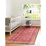 Unique Loom Revival Collection Traditional Medallion Border Red/Blue Area Rug (3' 6 x 5' 6)