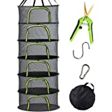 PROTITOUS 6 Tier Black Mesh Zippered Herb Drying Rack Hanging Dryer Dry Net with Pruning Shear for Hydroponics,Hook & Carabin