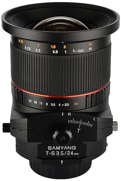 Samyang Tilt-Shift SYTS24-N 24mm f/3.5 Tilt Shift lens for Nikon (Black) Camera Lenses at amazon