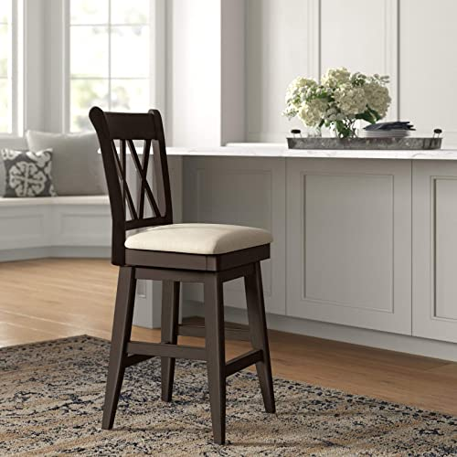 Furgle Bar Stool 26 inch Swivel Solid Wood Upholstered Counter Height Bar Stool Cushioned Seat Wooden Dining Chair