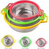 Kitchen Supply - 3 Piece Colander Set - Stainless Steel Mesh Strainer Net Baskets with Handles & Resting Base Drain, Rinse, Steam or Cook