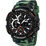 V2A Big Dial Camo-Green Outdoor Sport Shockproof Led Analogue and Digital Waterproof Chronograph Watch for Men