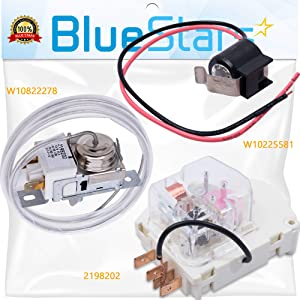 [NEW] 2198202 Cold Control Thermostat W10822278 Defrost Timer W10225581 Bimetal Thermostat Refrigerator Defrost COMPELTE Kit Replacement by Blue Stars – Exact Fit For Whirlpool Kenmore Refrigerators