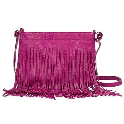 daeb18c0f347 Women Fringe Satchel Casual Formal Faux Leather Shoulder Bag Crossbody Bag