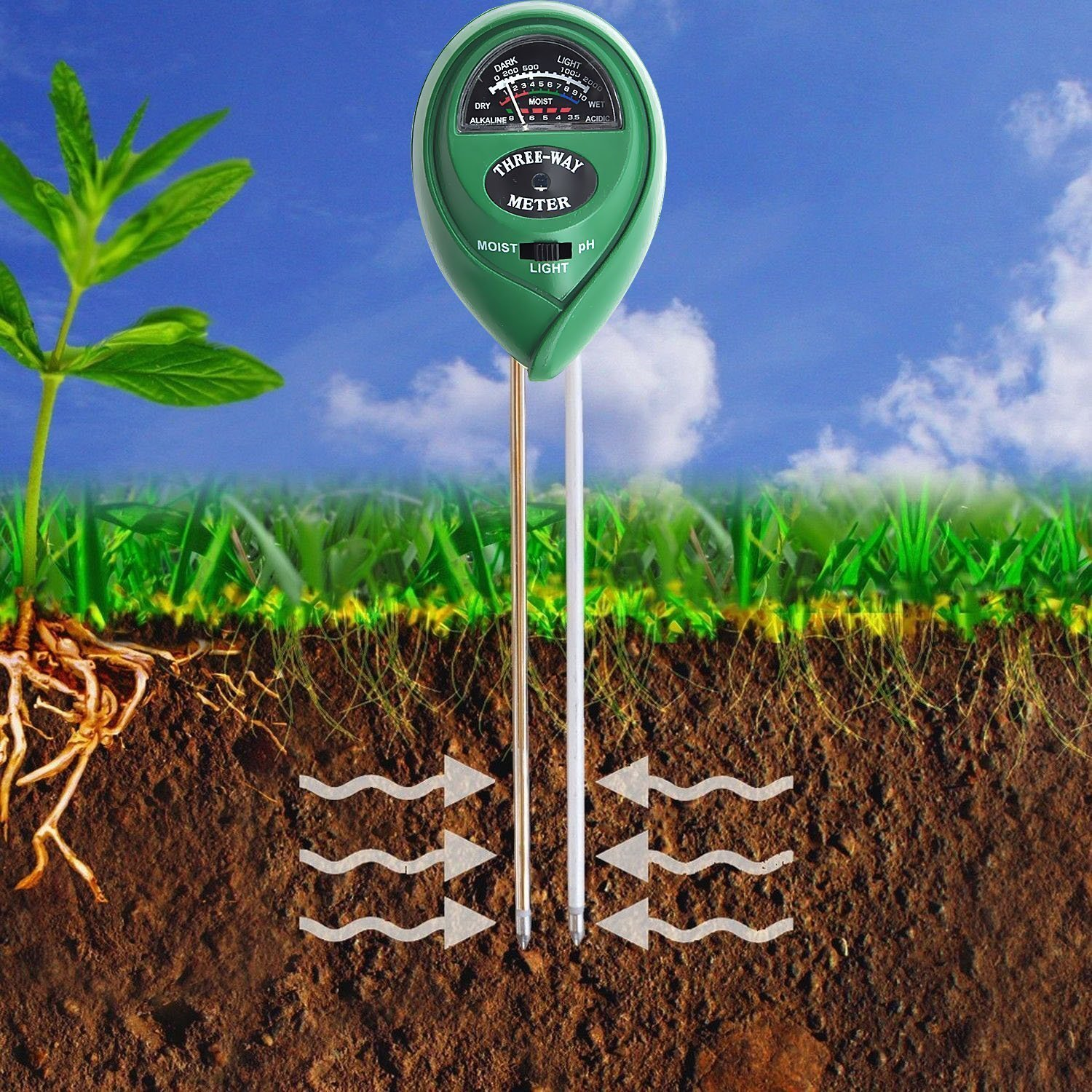 Ebeauty Soil Moisture, Light and pH Testing 3-in-1 Soil Tester Meter for Indoor or Outdoor Plants Flowers Grass and Lawn