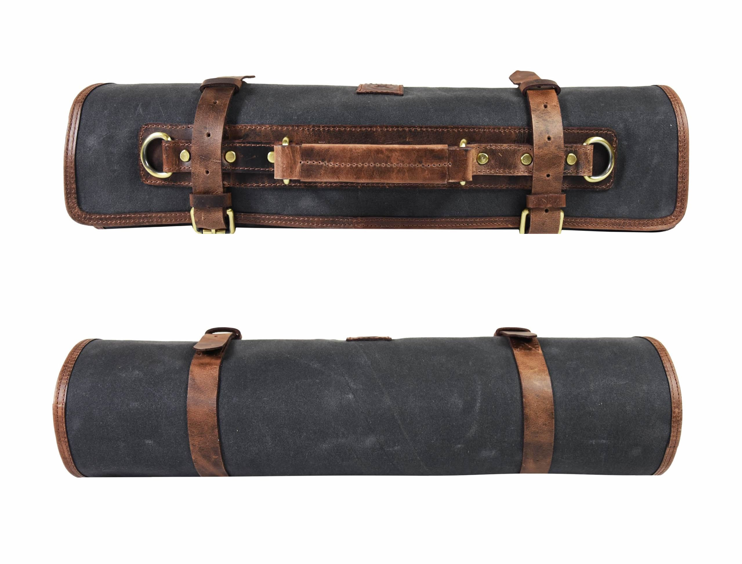 Leather Knife Roll Chef Roll Storage Bag Aaron Leather (Fossil Grey) by Aaron Leather (Image #9)