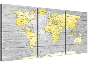 grande jaune gris carte du monde atlas impression sur toile dcoration murale maps split triptyque
