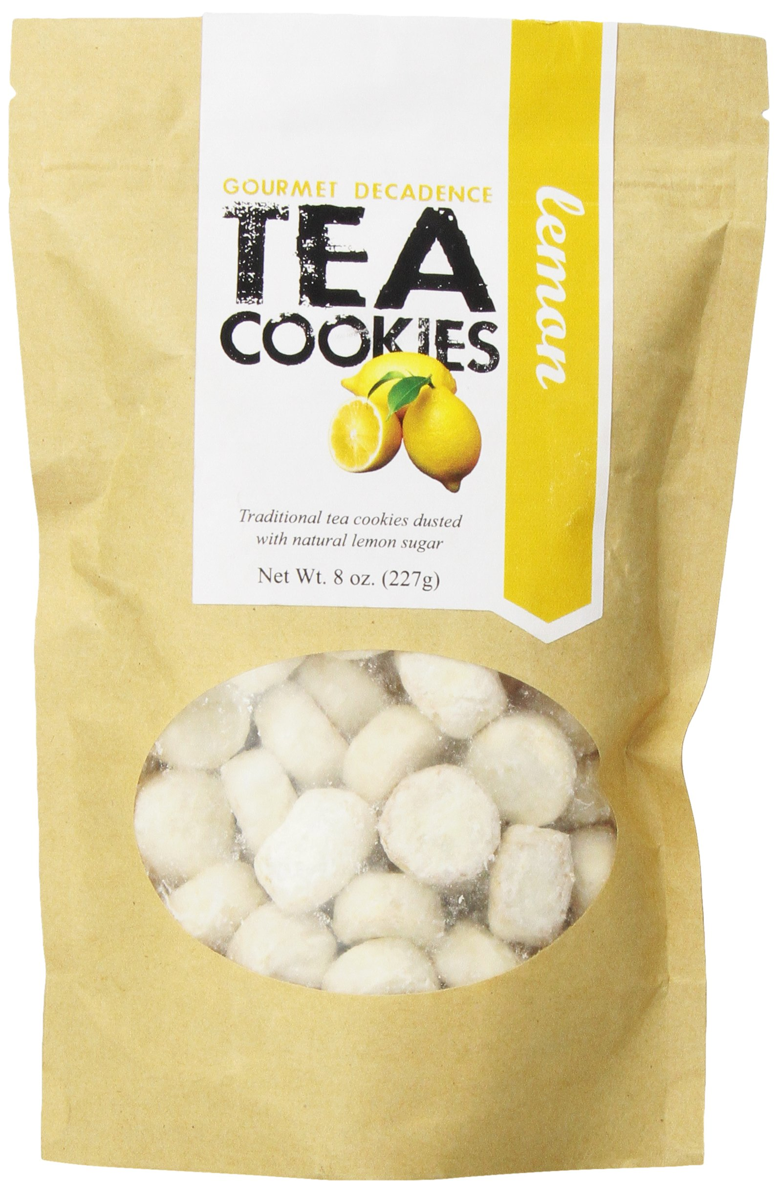 The Famous Pacific Dessert Company Tea Cookies, Lemon Decadence, 8-Ounce (Pack of 4)
