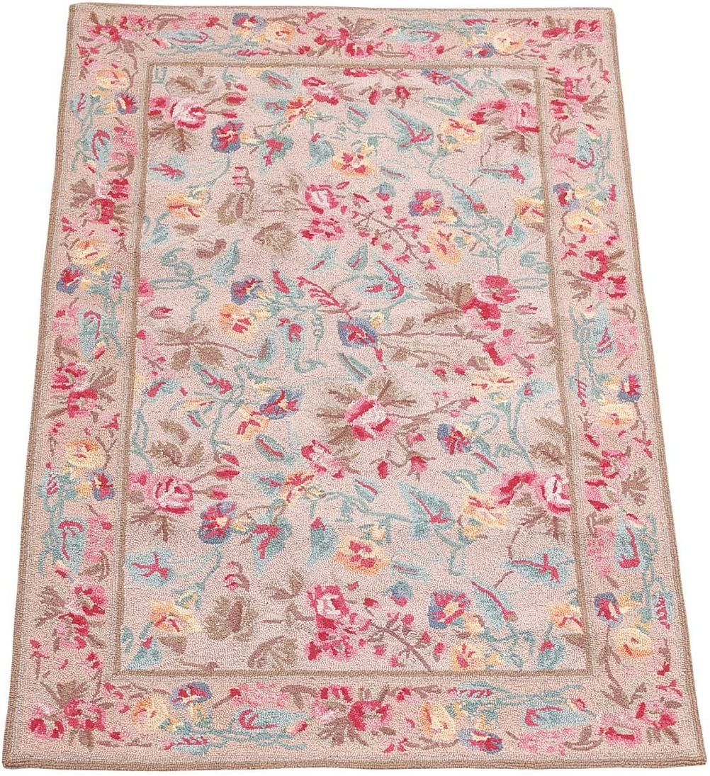 Renovators Supply Manufacturing Rectangular Area Rug for Living Room 5 Inch X 3 Inch Red Wool Victorian Style