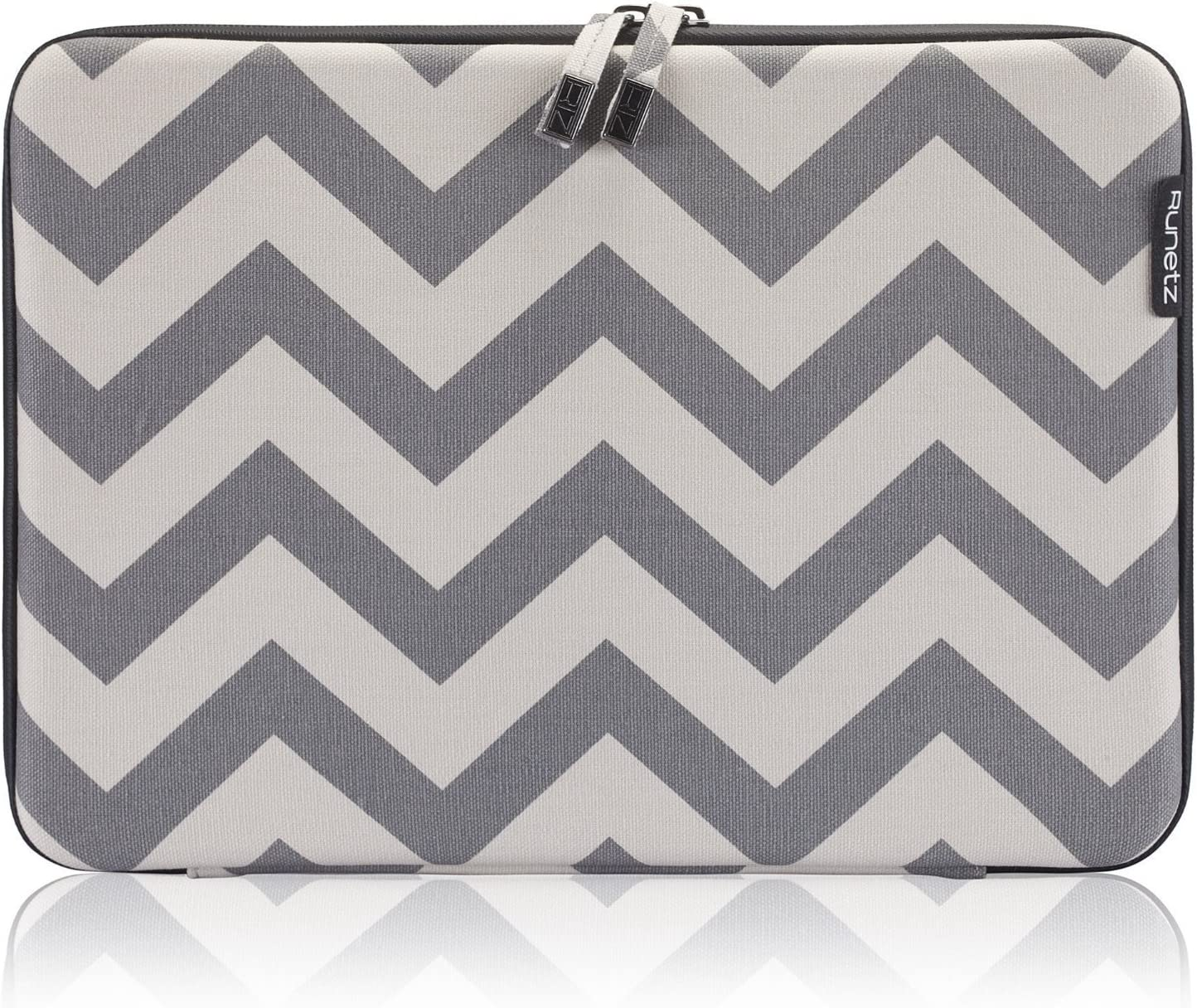 Runetz - MacBook Pro 15 inch Sleeve Hard Laptop Sleeve 15.4 inch Sleeve Notebook Computer Bag Protective Case Cover with Zipper - Chevron Gray