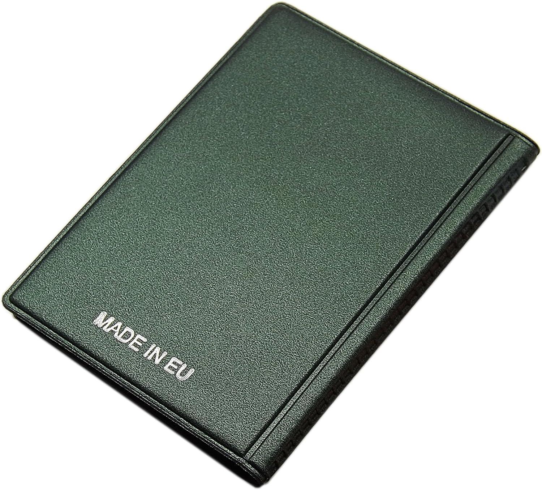 Porte de cartes de cr/édit 12 compartiments MJ-Design-Germany Made in UE dans diverses couleurs Vert // Argent