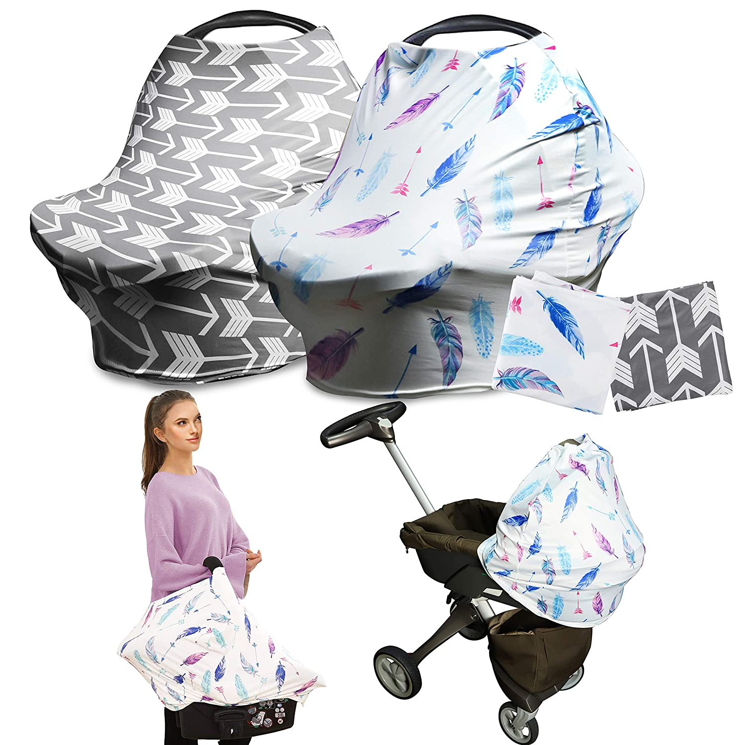 R.HORSE 2 PACK Nursing Breastfeeding Cover Scarf - Baby Car Seat Canopy, Shopping Cart, Stroller, Carseat Covers for Girls and Boys - Best Multi-Use Infinity Stretchy Shawl (Classical Arrows+ Feather)