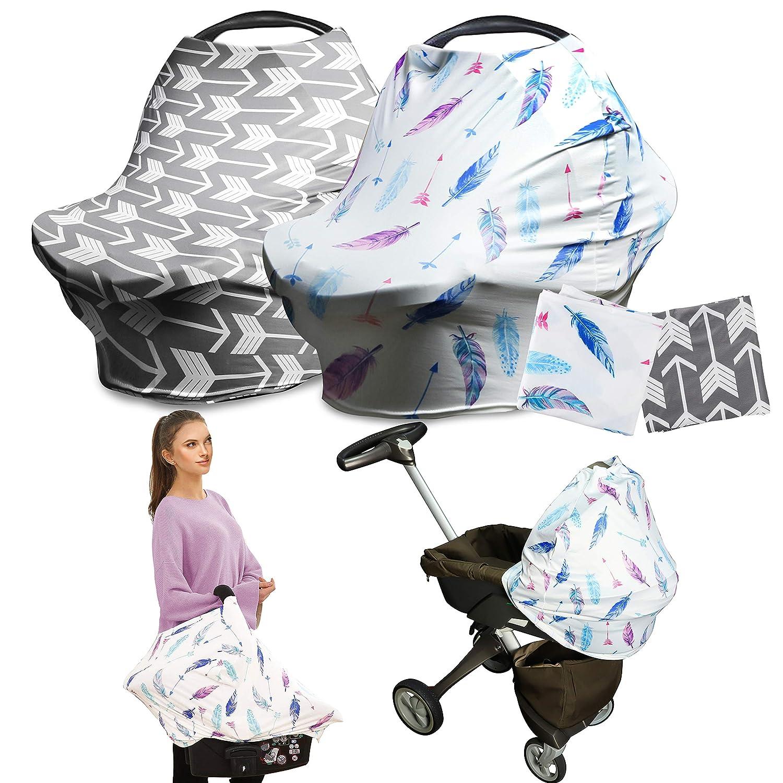 Nursing Breastfeeding Cover 2 Pack Stretchy Multi Use Car Seat Canopy Baby Boy