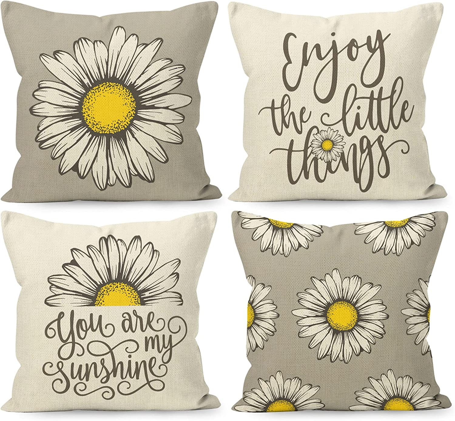 YUEMAYLY Farmhouse Summer Flower Daisy Floral You are My Sunshine Grey Linen Throw Pillow Covers 18 x 18 Inch Set of 4, Daisy Lover Gifts for Home Room Bed Sofa Decorations Decor
