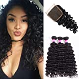 Brazilian Deep Wave Virgin Hair 8A Curly Hair 3 Bundles With Closure Free Part Thick and Unprocessed Human Remy Hair Extensions Natural Black Color 1B# 100g/pcs by Originea