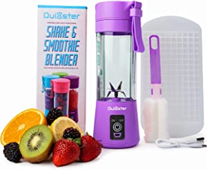 Quixster Portable Blender 13oz, USB Rechargeable blender cup with Six 3D Blades, Cleaning Brush, 50 Smoothie Recipe Guide and Mini Ice tray for Shakes and Smoothies