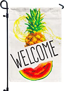 Welcome Summer Garden Flag, Watermelon Pineapple Decors for Yard Outside 12x18 Double Sided
