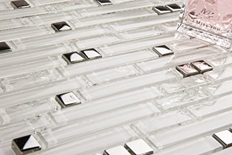Vetro mosaico piastrelle matte im mattoni format in argento e