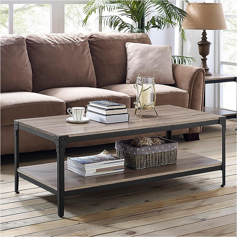 We Furniture 122cm 48 Angle Iron Rustic Wood Coffee Table
