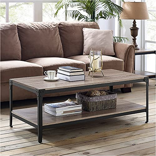 Walker Edison Declan Urban Industrial Angle Iron and Wood Coffee Table