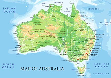 Map Of Australia Showing Capital Cities.Sonicprint Map Of Australia Showing All Capital State Cities Available Framed