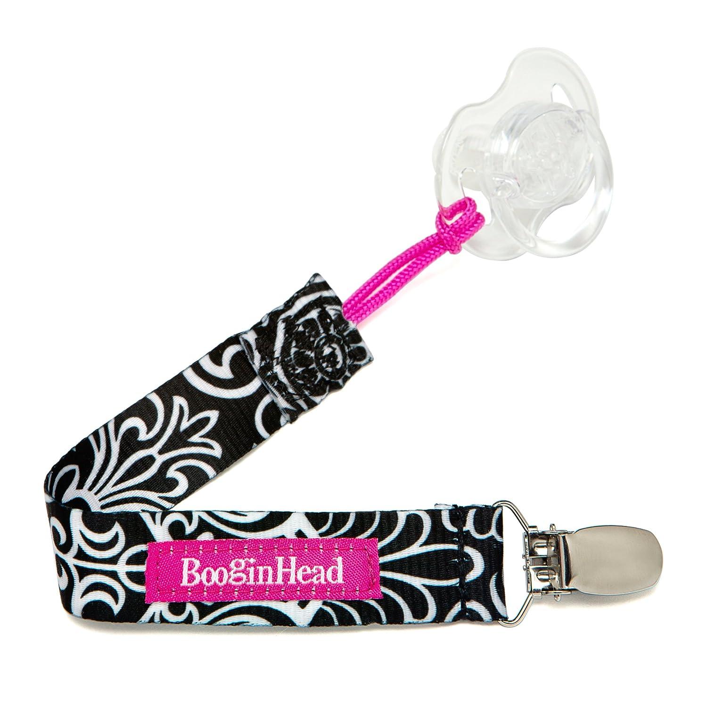 BooginHead Baby Newborn PaciGrip Pacifier Clip, Black Flourish Black/Pink